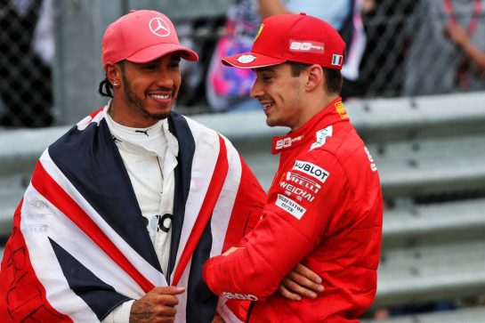 Race winner Lewis Hamilton (GBR) Mercedes AMG F1 in parc ferme with Charles Leclerc (MON) Ferrari.