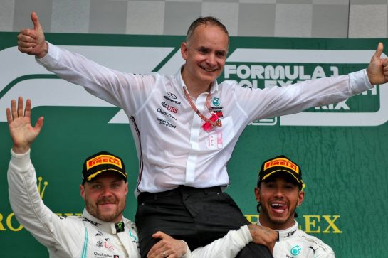 Race winner Lewis Hamilton (GBR) Mercedes AMG F1 celebrates with Valtteri Bottas (FIN) Mercedes AMG F1 on the podium.