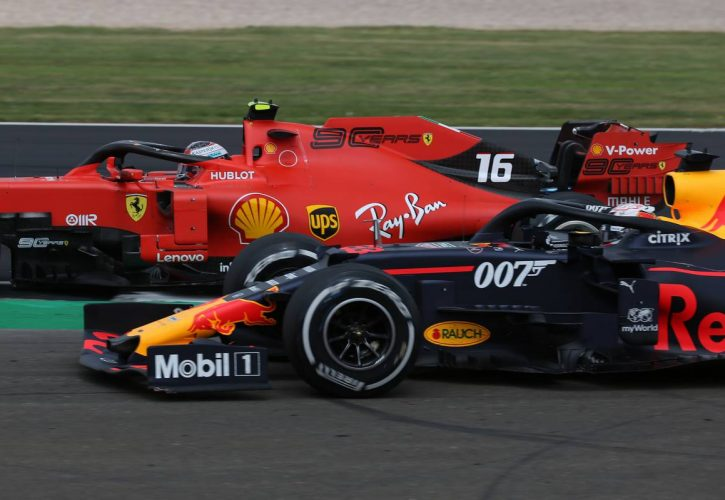 Charles Leclerc (MON) Ferrari SF90 and Max Verstappen (NLD) Red Bull Racing RB15.