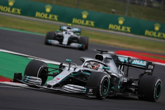 Lewis Hamilton (GBR) Mercedes AMG F1 W10 leads Valtteri Bottas (FIN) Mercedes AMG F1 W10.