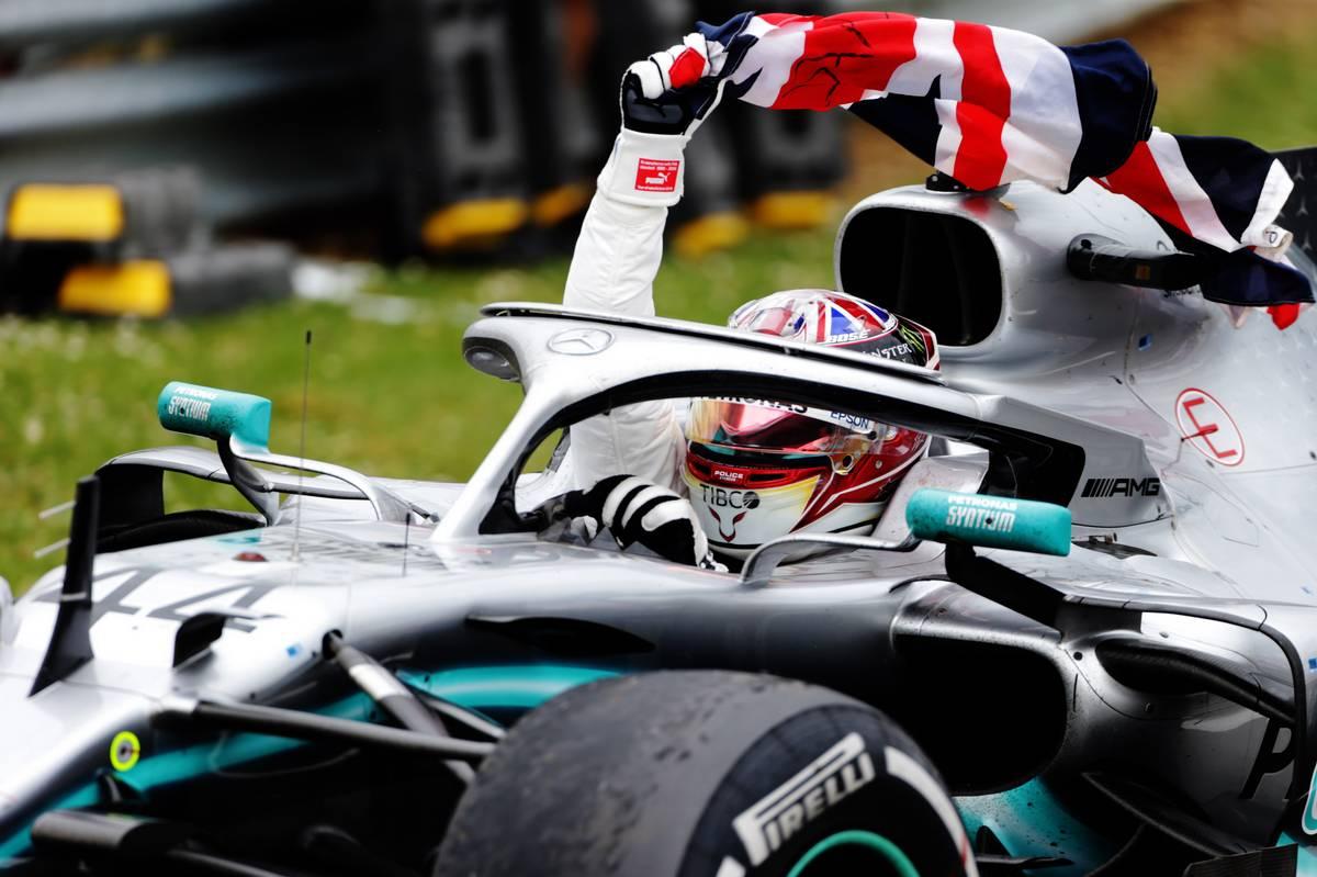 Race winner Lewis Hamilton (GBR) Mercedes AMG F1 W10 celebrates in parc ferme.