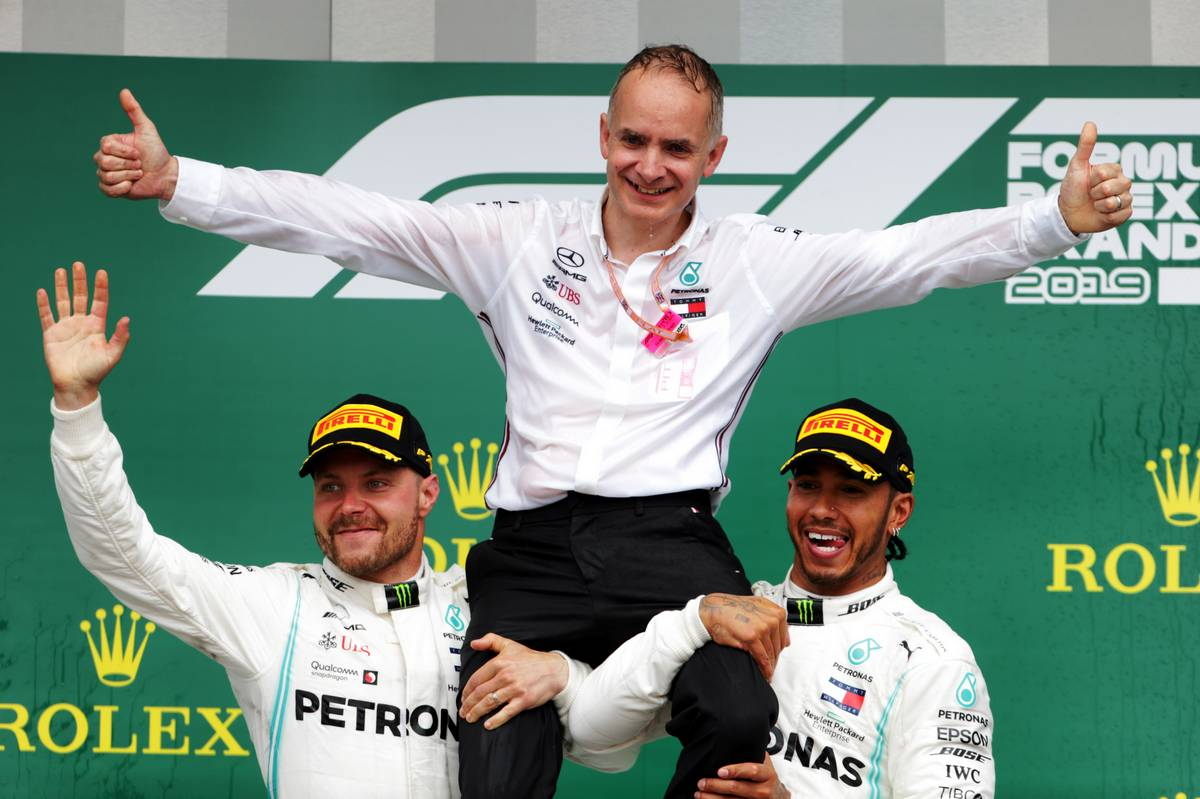 Race winner Lewis Hamilton (GBR) Mercedes AMG F1 and second placed Valtteri Bottas (FIN) Mercedes AMG F1 celebrate on the podium.
