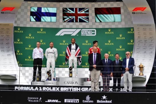 The podium (L to R): Valtteri Bottas (FIN) Mercedes AMG F1, second; Lewis Hamilton (GBR) Mercedes AMG F1, race winner; Charles Leclerc (MON) Ferrari, third.