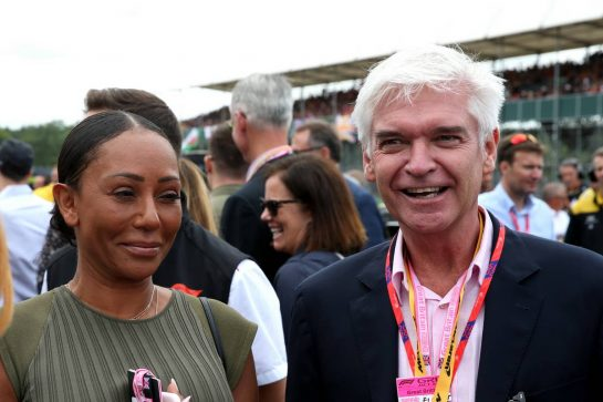 Mel B of the Spice Girls with Phillip Schofield (GBR) Television Presenter 14.07.2019. Formula 1 World Championship, Rd 10, British Grand Prix, Silverstone, England, Race Day. - www.xpbimages.com, EMail: requests@xpbimages.com - copy of publication required for printed pictures. Every used picture is fee-liable. © Copyright: Batchelor / XPB Images