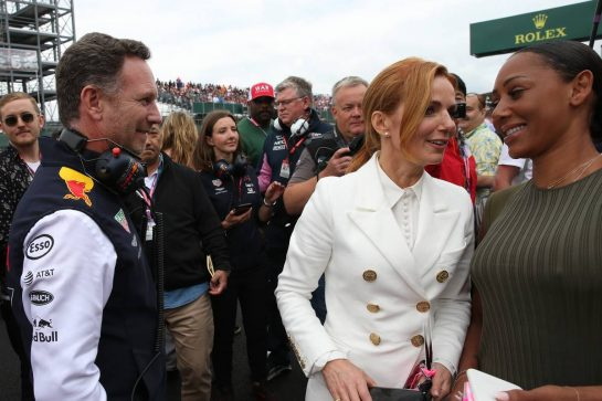 Christian Horner (GBR) Red Bull Racing Team Principal with Geri Horner and Mel B.