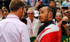 Race winner Lewis Hamilton (GBR) Mercedes AMG F1 with Jenson Button (GBR) Sky Sports F1 Presenter in parc ferme.