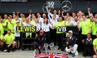 Mercedes AMG F1 celebrates a 1-2 finish for Lewis Hamilton (GBR) Mercedes AMG F1 and Valtteri Bottas (FIN) Mercedes AMG F1.