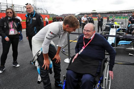 Frank Williams (GBR) Williams Team Owner and George Russell (GBR) Williams Racing on the grid.