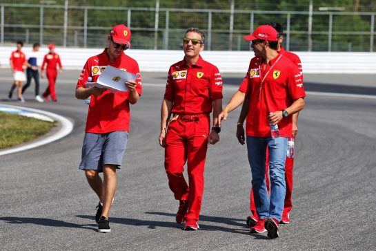 Sebastian Vettel (GER) Ferrari walks the circuit with the team. 25.07.2019. Formula 1 World Championship, Rd 11, German Grand Prix, Hockenheim, Germany, Preparation Day. - www.xpbimages.com, EMail: requests@xpbimages.com - copy of publication required for printed pictures. Every used picture is fee-liable. © Copyright: Moy / XPB Images