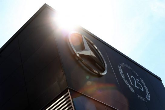 Mercedes AMG F1 motorhome celebrates 125 years of motorsport. 25.07.2019. Formula 1 World Championship, Rd 11, German Grand Prix, Hockenheim, Germany, Preparation Day. - www.xpbimages.com, EMail: requests@xpbimages.com - copy of publication required for printed pictures. Every used picture is fee-liable. © Copyright: Moy / XPB Images