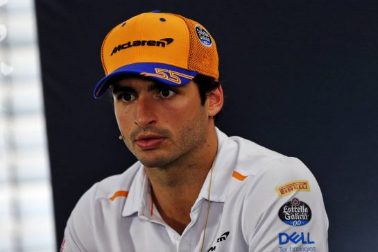 Carlos Sainz Jr (ESP) McLaren in the FIA Press Conference. 25.07.2019. Formula 1 World Championship, Rd 11, German Grand Prix, Hockenheim, Germany, Preparation Day. - www.xpbimages.com, EMail: requests@xpbimages.com - copy of publication required for printed pictures. Every used picture is fee-liable. © Copyright: Moy / XPB Images