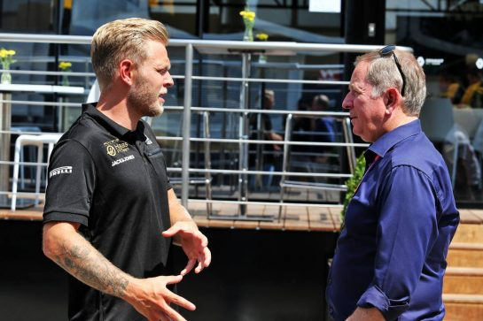 (L to R): Kevin Magnussen (DEN) Haas F1 Team with Martin Brundle (GBR) Sky Sports Commentator. 25.07.2019. Formula 1 World Championship, Rd 11, German Grand Prix, Hockenheim, Germany, Preparation Day. - www.xpbimages.com, EMail: requests@xpbimages.com - copy of publication required for printed pictures. Every used picture is fee-liable. © Copyright: Moy / XPB Images