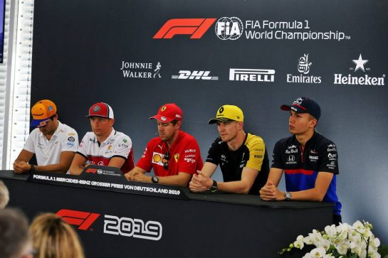 The FIA Press Conference (L to R): Carlos Sainz Jr (ESP) McLaren; Kimi Raikkonen (FIN) Alfa Romeo Racing; sbp; Nico Hulkenberg (GER) Renault F1 Team; Alexander Albon (THA) Scuderia Toro Rosso. 25.07.2019. Formula 1 World Championship, Rd 11, German Grand Prix, Hockenheim, Germany, Preparation Day. - www.xpbimages.com, EMail: requests@xpbimages.com - copy of publication required for printed pictures. Every used picture is fee-liable. © Copyright: Moy / XPB Images