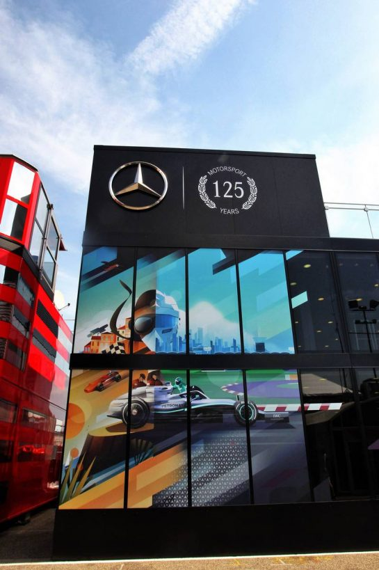 Mercedes AMG F1 motorhome celebrates 125 years of motorsport. 25.07.2019. Formula 1 World Championship, Rd 11, German Grand Prix, Hockenheim, Germany, Preparation Day. - www.xpbimages.com, EMail: requests@xpbimages.com - copy of publication required for printed pictures. Every used picture is fee-liable. © Copyright: Photo4 / XPB Images