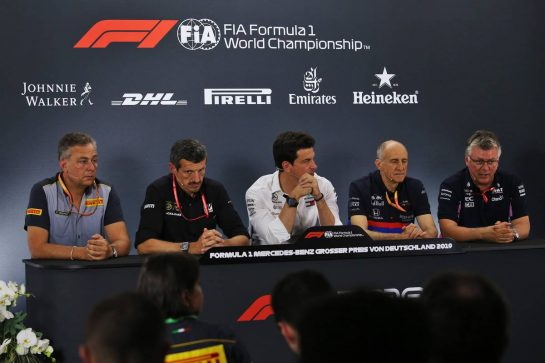 The FIA Press Conference (L to R): Mario Isola (ITA) Pirelli Racing Manager; Guenther Steiner (ITA) Haas F1 Team Prinicipal; Toto Wolff (GER) Mercedes AMG F1 Shareholder and Executive Director; Franz Tost (AUT) Scuderia Toro Rosso Team Principal; Otmar Szafnauer (USA) Racing Point F1 Team Principal and CEO.