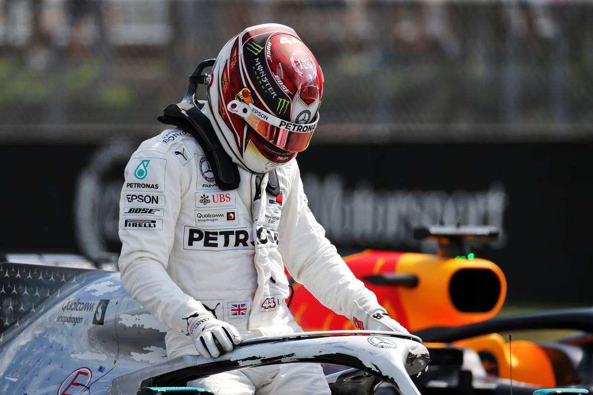 Lewis Hamilton (GBR) Mercedes AMG F1 W10 in qualifying parc ferme.