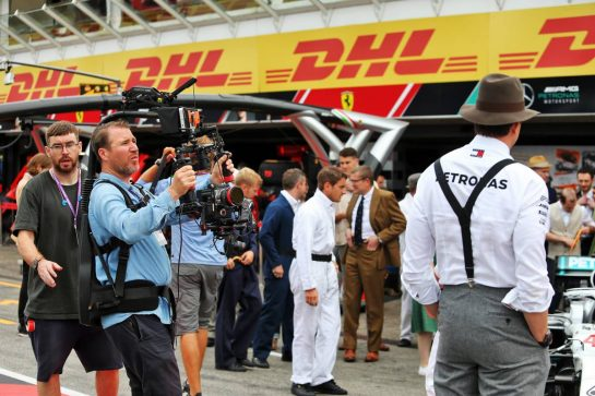 Mercedes AMG F1 being filmed by the Netflix production 'Drive to Survive'. 28.07.2019. Formula 1 World Championship, Rd 11, German Grand Prix, Hockenheim, Germany, Race Day. - www.xpbimages.com, EMail: requests@xpbimages.com - copy of publication required for printed pictures. Every used picture is fee-liable. © Copyright: Moy / XPB Images