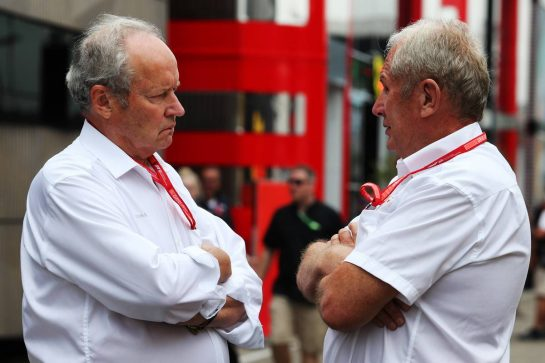 (L to R): Jerome Stoll (FRA) Renault Sport F1 President with Dr Helmut Marko (AUT) Red Bull Motorsport Consultant. 28.07.2019. Formula 1 World Championship, Rd 11, German Grand Prix, Hockenheim, Germany, Race Day. - www.xpbimages.com, EMail: requests@xpbimages.com - copy of publication required for printed pictures. Every used picture is fee-liable. © Copyright: Moy / XPB Images