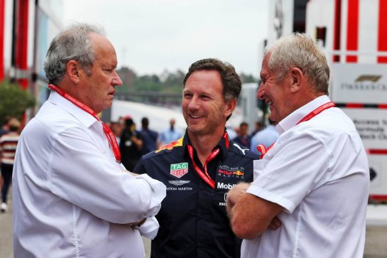 (L to R): Jerome Stoll (FRA) Renault Sport F1 President with Christian Horner (GBR) Red Bull Racing Team Principal and Dr Helmut Marko (AUT) Red Bull Motorsport Consultant. 28.07.2019. Formula 1 World Championship, Rd 11, German Grand Prix, Hockenheim, Germany, Race Day. - www.xpbimages.com, EMail: requests@xpbimages.com - copy of publication required for printed pictures. Every used picture is fee-liable. © Copyright: Moy / XPB Images