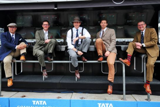 (L to R): Ron Meadows (GBR) Mercedes GP Team Manager; Andrew Shovlin (GBR) Mercedes AMG F1 Engineer; Toto Wolff (GER) Mercedes AMG F1 Shareholder and Executive Director;  wear vintage clothing to celebrate 125 years in motorsport. 28.07.2019. Formula 1 World Championship, Rd 11, German Grand Prix, Hockenheim, Germany, Race Day. - www.xpbimages.com, EMail: requests@xpbimages.com - copy of publication required for printed pictures. Every used picture is fee-liable. © Copyright: Moy / XPB Images
