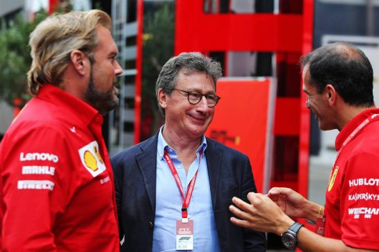 (L to R): Gino Rosato (CDN) Ferrari; Louis Camilleri (ITA) Ferrari Chief Executive Officer; Marc Gene (ESP) Ferrari Test Driver. 28.07.2019. Formula 1 World Championship, Rd 11, German Grand Prix, Hockenheim, Germany, Race Day. - www.xpbimages.com, EMail: requests@xpbimages.com - copy of publication required for printed pictures. Every used picture is fee-liable. © Copyright: Moy / XPB Images