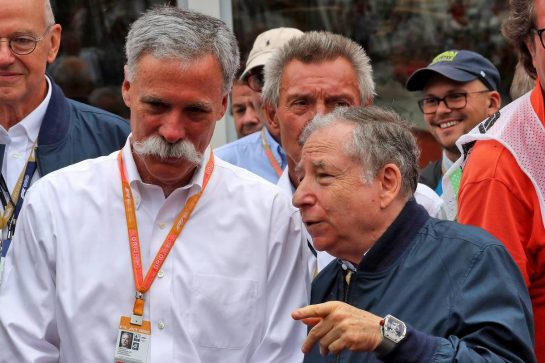 (L to R): Chase Carey (USA) Formula One Group Chairman with Jean Todt (FRA) FIA President. 28.07.2019. Formula 1 World Championship, Rd 11, German Grand Prix, Hockenheim, Germany, Race Day. - www.xpbimages.com, EMail: requests@xpbimages.com - copy of publication required for printed pictures. Every used picture is fee-liable. © Copyright: Photo4 / XPB Images