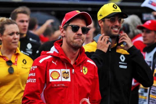 Sebastian Vettel (GER) Ferrari on the drivers parade. 28.07.2019. Formula 1 World Championship, Rd 11, German Grand Prix, Hockenheim, Germany, Race Day. - www.xpbimages.com, EMail: requests@xpbimages.com - copy of publication required for printed pictures. Every used picture is fee-liable. © Copyright: Photo4 / XPB Images