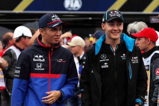 (L to R): Alexander Albon (THA) Scuderia Toro Rosso with George Russell (GBR) Williams Racing on the drivers parade. 28.07.2019. Formula 1 World Championship, Rd 11, German Grand Prix, Hockenheim, Germany, Race Day. - www.xpbimages.com, EMail: requests@xpbimages.com - copy of publication required for printed pictures. Every used picture is fee-liable. © Copyright: Photo4 / XPB Images