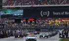 Lewis Hamilton (GBR) Mercedes AMG F1 W10 leads behind the FIA Safety Car