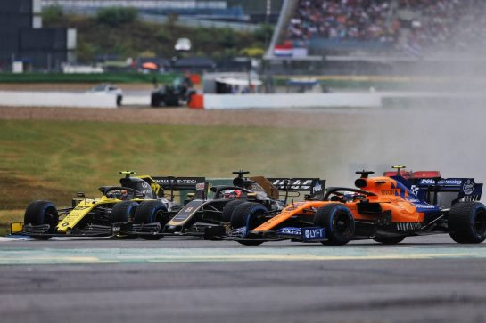 (L to R): Nico Hulkenberg (GER) Renault F1 Team RS19, Romain Grosjean (FRA) Haas F1 Team VF-19, and Carlos Sainz Jr (ESP) McLaren MCL34. 28.07.2019. Formula 1 World Championship, Rd 11, German Grand Prix, Hockenheim, Germany, Race Day. - www.xpbimages.com, EMail: requests@xpbimages.com - copy of publication required for printed pictures. Every used picture is fee-liable. © Copyright: Moy / XPB Images
