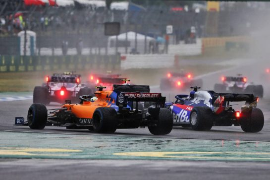 Lando Norris (GBR) McLaren MCL34 and Daniil Kvyat (RUS) Scuderia Toro Rosso STR14. 28.07.2019. Formula 1 World Championship, Rd 11, German Grand Prix, Hockenheim, Germany, Race Day. - www.xpbimages.com, EMail: requests@xpbimages.com - copy of publication required for printed pictures. Every used picture is fee-liable. © Copyright: Moy / XPB Images