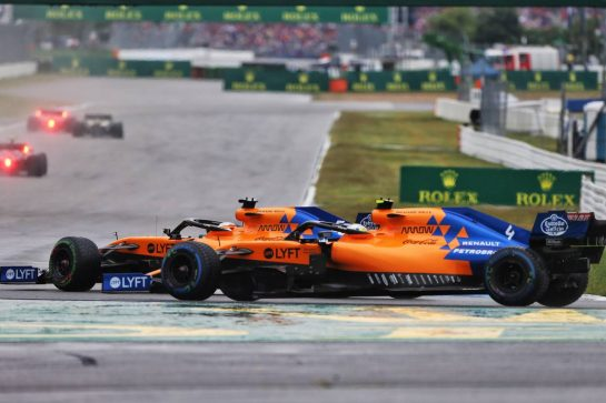 Carlos Sainz Jr (ESP) McLaren MCL34 and Lando Norris (GBR) McLaren MCL34 battle for position. 28.07.2019. Formula 1 World Championship, Rd 11, German Grand Prix, Hockenheim, Germany, Race Day. - www.xpbimages.com, EMail: requests@xpbimages.com - copy of publication required for printed pictures. Every used picture is fee-liable. © Copyright: Moy / XPB Images