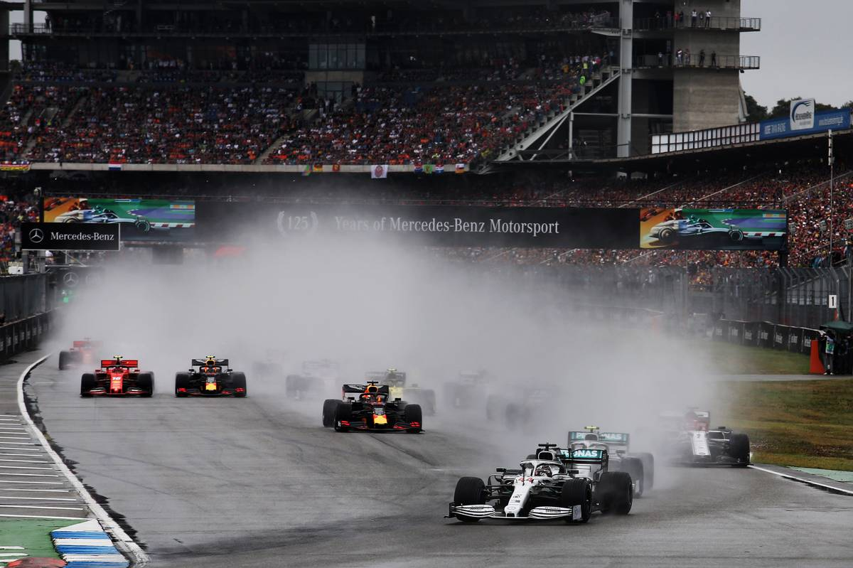 Lewis Hamilton (GBR) Mercedes AMG F1 W10 leads at the start of the race.