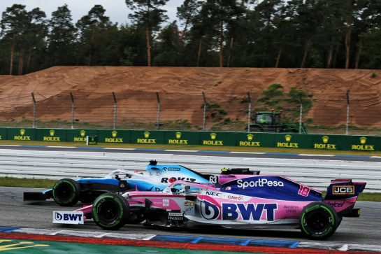 George Russell (GBR) Williams Racing FW42 and Lance Stroll (CDN) Racing Point F1 Team RP19 battle for position. 28.07.2019. Formula 1 World Championship, Rd 11, German Grand Prix, Hockenheim, Germany, Race Day. - www.xpbimages.com, EMail: requests@xpbimages.com - copy of publication required for printed pictures. Every used picture is fee-liable. © Copyright: Moy / XPB Images