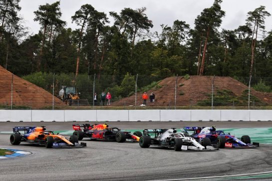 (L to R): Carlos Sainz Jr (ESP) McLaren MCL34; Pierre Gasly (FRA) Red Bull Racing RB15; Lewis Hamilton (GBR) Mercedes AMG F1 W10; and Alexander Albon (THA) Scuderia Toro Rosso STR14. 28.07.2019. Formula 1 World Championship, Rd 11, German Grand Prix, Hockenheim, Germany, Race Day. - www.xpbimages.com, EMail: requests@xpbimages.com - copy of publication required for printed pictures. Every used picture is fee-liable. © Copyright: Moy / XPB Images