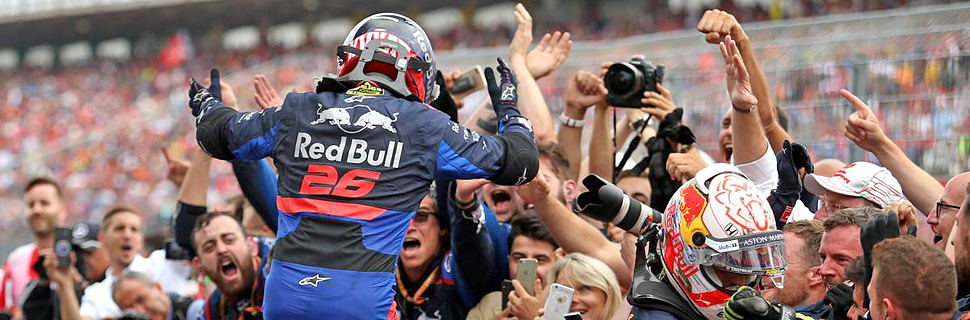 Daniil Kvyat (RUS), Scuderia Toro Rosso and Max Verstappen (NLD), Red Bull Racing