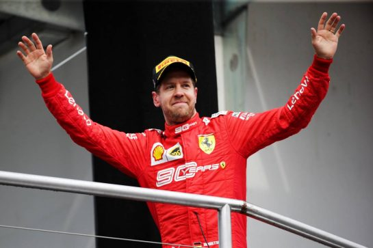 Sebastian Vettel (GER) Ferrari celebrates his second position on the podium. 28.07.2019. Formula 1 World Championship, Rd 11, German Grand Prix, Hockenheim, Germany, Race Day.  - www.xpbimages.com, EMail: requests@xpbimages.com - copy of publication required for printed pictures. Every used picture is fee-liable. © Copyright: Bearne / XPB Images