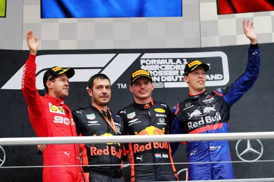 The podium (L to R): Sebastian Vettel (GER) Ferrari, second; Max Verstappen (NLD) Red Bull Racing, race winner; Daniil Kvyat (RUS) Scuderia Toro Rosso, third. 28.07.2019. Formula 1 World Championship, Rd 11, German Grand Prix, Hockenheim, Germany, Race Day.  - www.xpbimages.com, EMail: requests@xpbimages.com - copy of publication required for printed pictures. Every used picture is fee-liable. © Copyright: Bearne / XPB Images