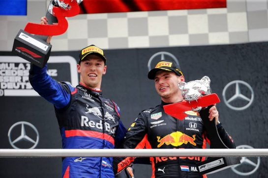 The podium (L to R): Daniil Kvyat (RUS) Scuderia Toro Rosso celebrates his third position with race winner Max Verstappen (NLD) Red Bull Racing. 28.07.2019. Formula 1 World Championship, Rd 11, German Grand Prix, Hockenheim, Germany, Race Day.  - www.xpbimages.com, EMail: requests@xpbimages.com - copy of publication required for printed pictures. Every used picture is fee-liable. © Copyright: Bearne / XPB Images