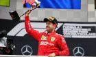 Sebastian Vettel (GER) Ferrari celebrates his second position on the podium. 28.07.2019.