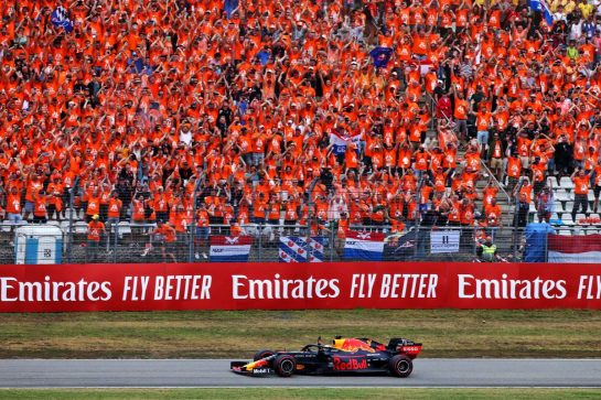 Race winner Max Verstappen (NLD) Red Bull Racing celebrates at the end of the race. 28.07.2019. Formula 1 World Championship, Rd 11, German Grand Prix, Hockenheim, Germany, Race Day. - www.xpbimages.com, EMail: requests@xpbimages.com - copy of publication required for printed pictures. Every used picture is fee-liable. © Copyright: Moy / XPB Images