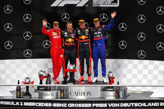 The podium (L to R): Sebastian Vettel (GER) Ferrari, second; Max Verstappen (NLD) Red Bull Racing, race winner; Daniil Kvyat (RUS) Scuderia Toro Rosso, third. 28.07.2019. Formula 1 World Championship, Rd 11, German Grand Prix, Hockenheim, Germany, Race Day. - www.xpbimages.com, EMail: requests@xpbimages.com - copy of publication required for printed pictures. Every used picture is fee-liable. © Copyright: Moy / XPB Images