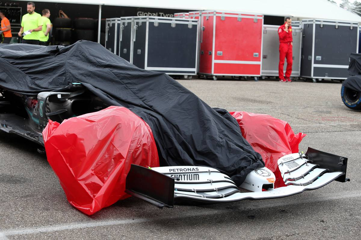 The Mercedes AMG F1 W10 of Valtteri Bottas (FIN) Mercedes AMG F1 covered after he crashed out of the race.