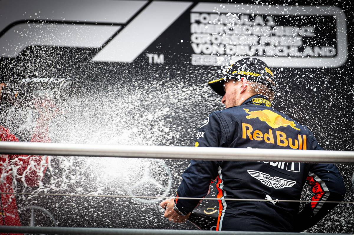 Race winner Max Verstappen (NLD) Red Bull Racing celebrates on the podium.