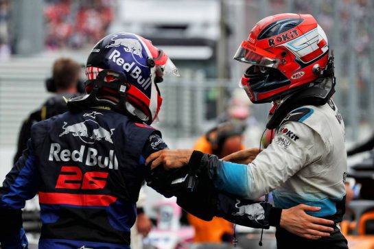 (L to R): Daniil Kvyat (RUS) Scuderia Toro Rosso celebrates his third position with team mate Alexander Albon (THA) Scuderia Toro Rosso. 28.07.2019. Formula 1 World Championship, Rd 11, German Grand Prix, Hockenheim, Germany, Race Day. - www.xpbimages.com, EMail: requests@xpbimages.com - copy of publication required for printed pictures. Every used picture is fee-liable. © Copyright: Photo4 / XPB Images