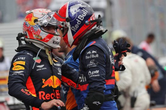 (L to R): Race winner Max Verstappen (NLD) Red Bull Racing celebrates in parc ferme with third placed Daniil Kvyat (RUS) Scuderia Toro Rosso. 28.07.2019. Formula 1 World Championship, Rd 11, German Grand Prix, Hockenheim, Germany, Race Day. - www.xpbimages.com, EMail: requests@xpbimages.com - copy of publication required for printed pictures. Every used picture is fee-liable. © Copyright: Photo4 / XPB Images