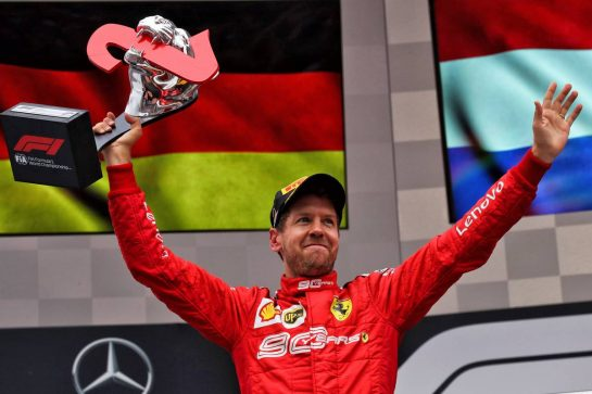 Sebastian Vettel (GER) Ferrari celebrates his second position on the podium. 28.07.2019. Formula 1 World Championship, Rd 11, German Grand Prix, Hockenheim, Germany, Race Day. - www.xpbimages.com, EMail: requests@xpbimages.com - copy of publication required for printed pictures. Every used picture is fee-liable. © Copyright: Photo4 / XPB Images