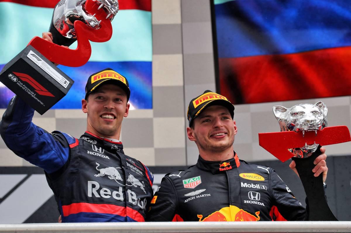 Daniil Kvyat (RUS) Scuderia Toro Rosso celebrates his third position on the podium with race winner Max Verstappen (NLD) Red Bull Racing.