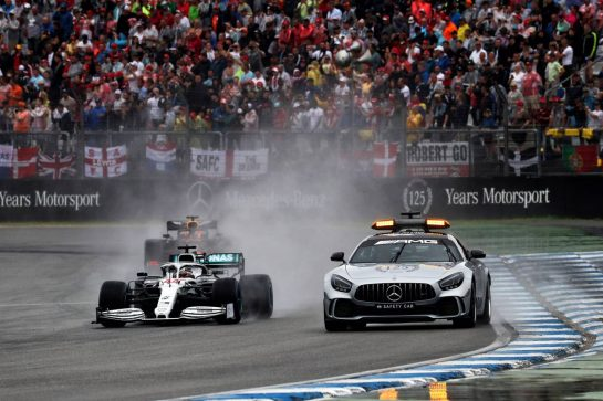 Lewis Hamilton (GBR) Mercedes AMG F1 W10 leads behind the FIA Safety Car. 28.07.2019. Formula 1 World Championship, Rd 11, German Grand Prix, Hockenheim, Germany, Race Day. - www.xpbimages.com, EMail: requests@xpbimages.com - copy of publication required for printed pictures. Every used picture is fee-liable. © Copyright: Photo4 / XPB Images