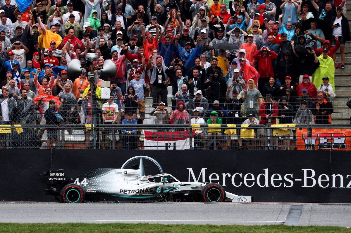 Lewis Hamilton (GBR) Mercedes AMG F1 W10 runs wide and crashes into the barrier.
